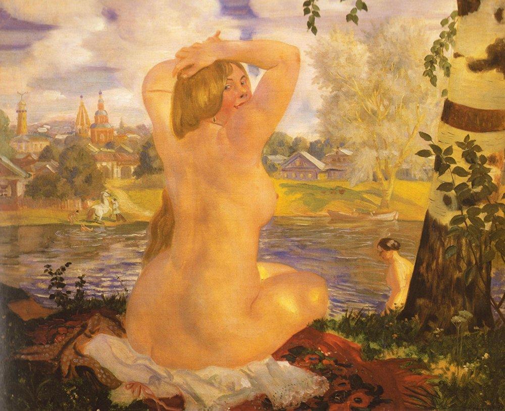 Borís Kustódiev 'La mijer que se baña' 1921