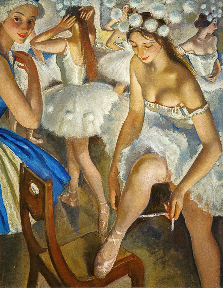 Zinaída Serebriakova 'Vestidor de ballet. Copos de nieve, ballet 'El cascanueces' 1923