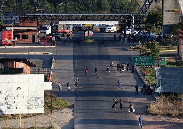 Frontera entre Venezuela y Brasil en Pacaraima