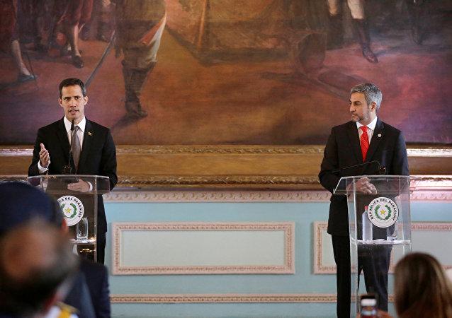 El lider opositor, Juan Guaido y el presidente de Paraguay, Mario Abdo