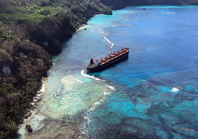 El buque Solomon Trader tras la avería cerca de las islas Salomón
