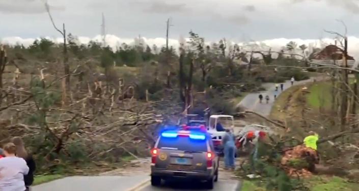 Los destrozos por tornados en el estado de Alabama