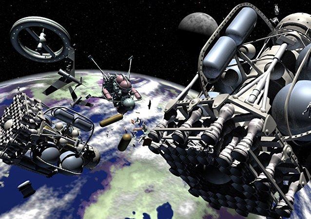 Objetos en órbita terrestre (ilustración)