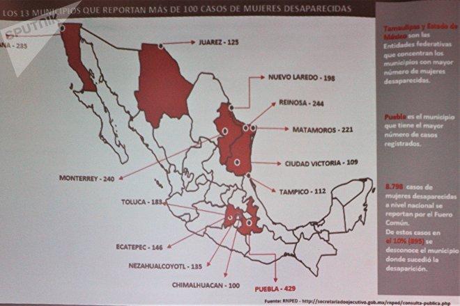 Diapositiva en presentación de informe con mapa de México con la incidencia de desapariciones forzadas de mujeres