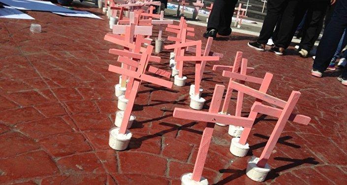 Cruces rojas por mujeres asesinadas en Ecatepec, México