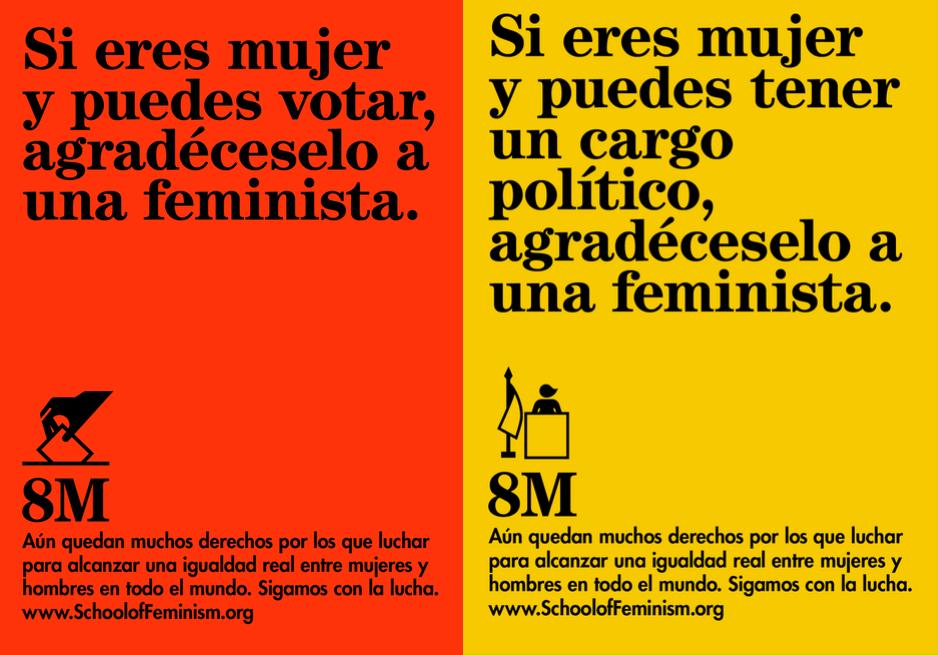 Carteles a favor de la igualdad de género