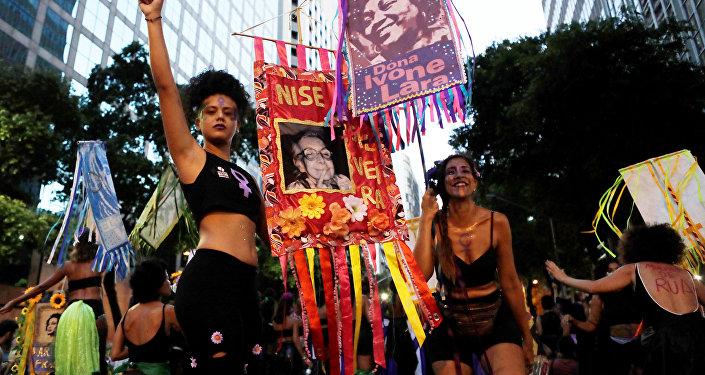 La marcha de las mujeres en Río de Janeiro