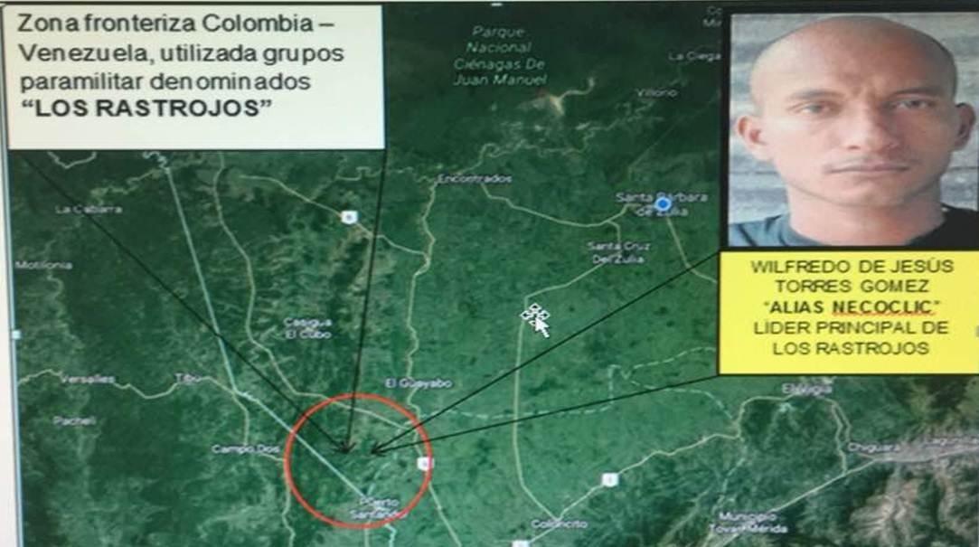 El mapa y la foto de Wilfredo de Jesús Torres Gómez alias 'Necocli', lider principal de los Rastrojos