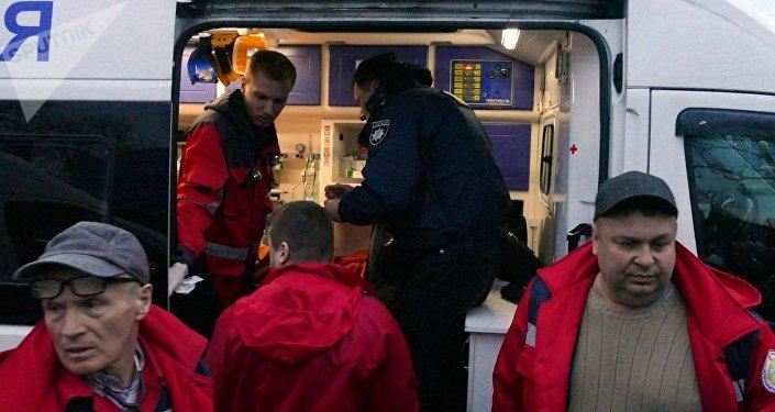 Un policía sufrido en disturbios en la ciudad de Cherkasy