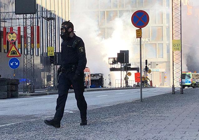 Lugar de la explosión de un autobús en Estocolmo, Suecia