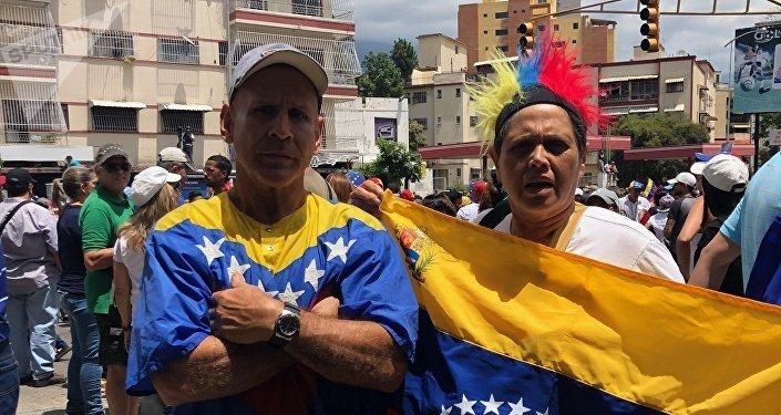 Participantes de la marcha opositora en Caracas