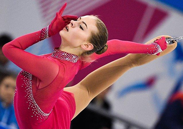 Una patinadora de Letonia en la Universiada 2019 en Rusia