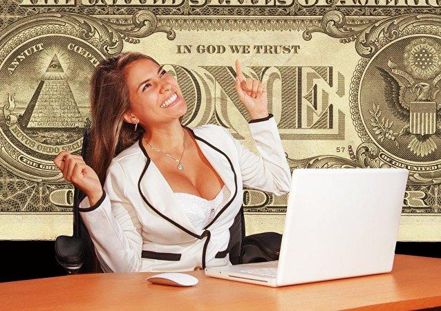 Mujer con dólares