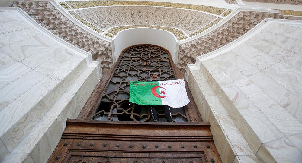 Un manifestante con la bandera de Algeria