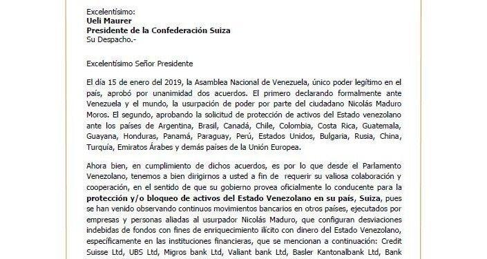 Solicitud de bloqueo de supuestas cuentas de Nicolás Maduro en los bancos suizos enviado al 'presidente de Suiza'