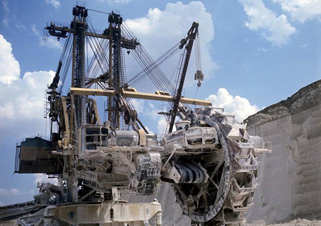 Una excavadora de rotor utilizada para explorar mena de hierro