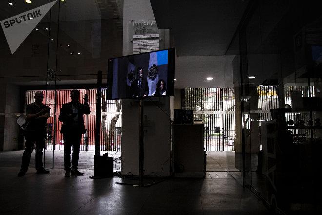 Periodistas durante la disculpa pública por la desaparición forzada de cinco jóvenes en Tierra Blanca, Veracruz, en 2016.