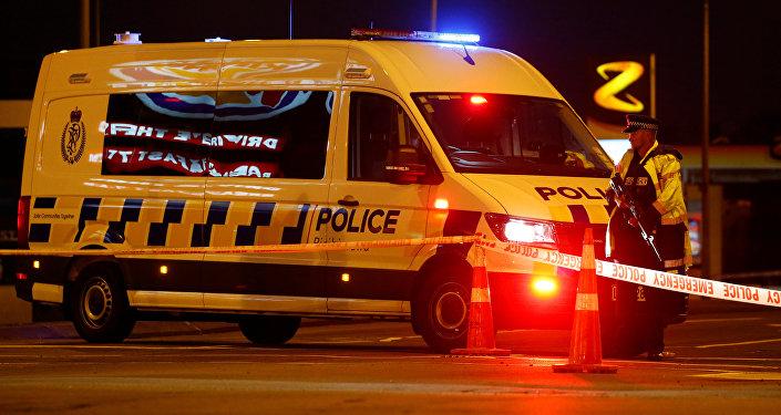 Policía en el lugar del tiroteo registrado en Christchurch, Nueva Zelanda.