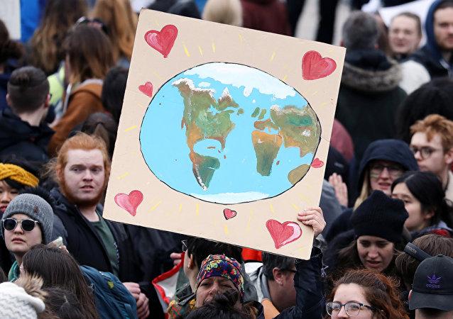 Estudiantes en la huelga contra el cambio climático