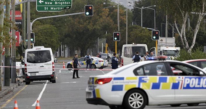 La policía en el lugar del tiroteo en Nueva Zelanda