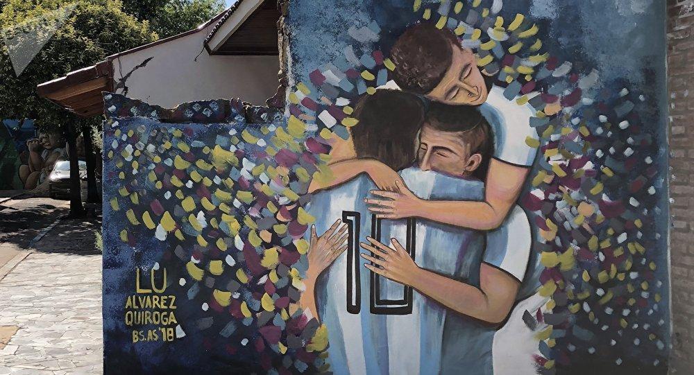 Un mural en honor a la selección argentina en la ciudad de Rosario