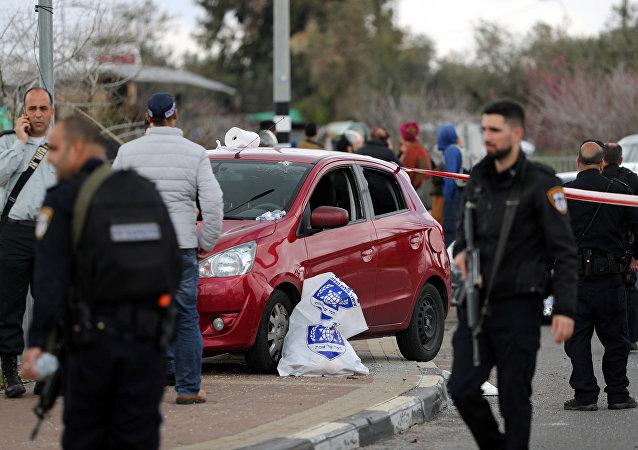 Lugar del ataque en Ariel, Cisjordania