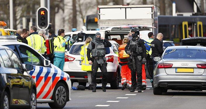 Lugar del tiroteo en la ciudad de Utrecht, Países Bajos