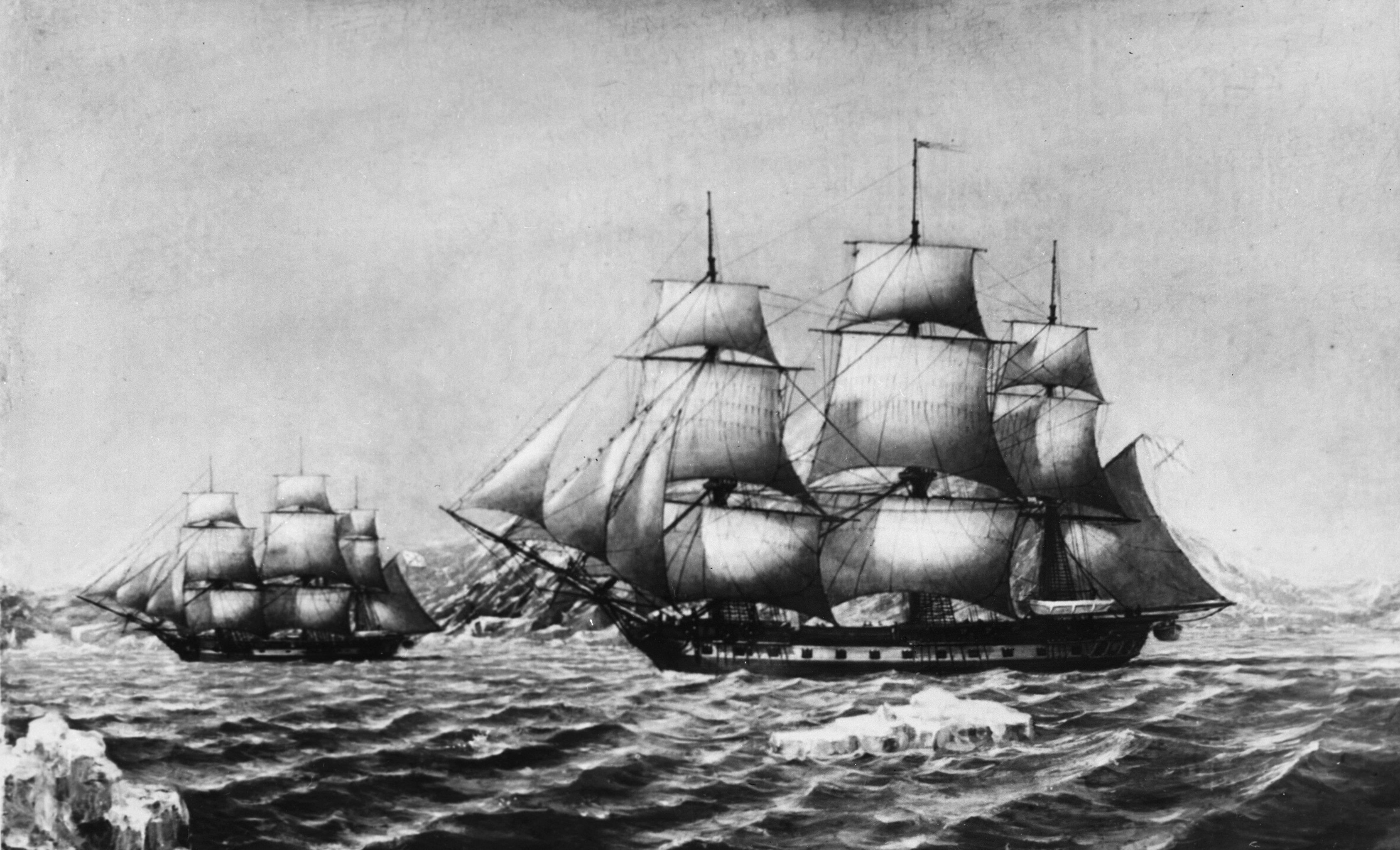 Las embarcaciones militares Vostok y Mirni en 1820
