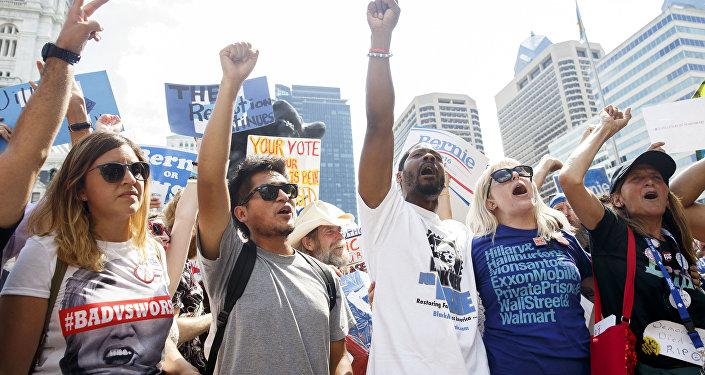 Manifestantes en EEUU a favor de los demócratas