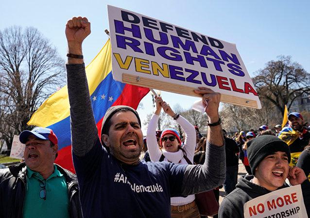 Los manifestantes exigen protección de derechos humanos en Venezuela