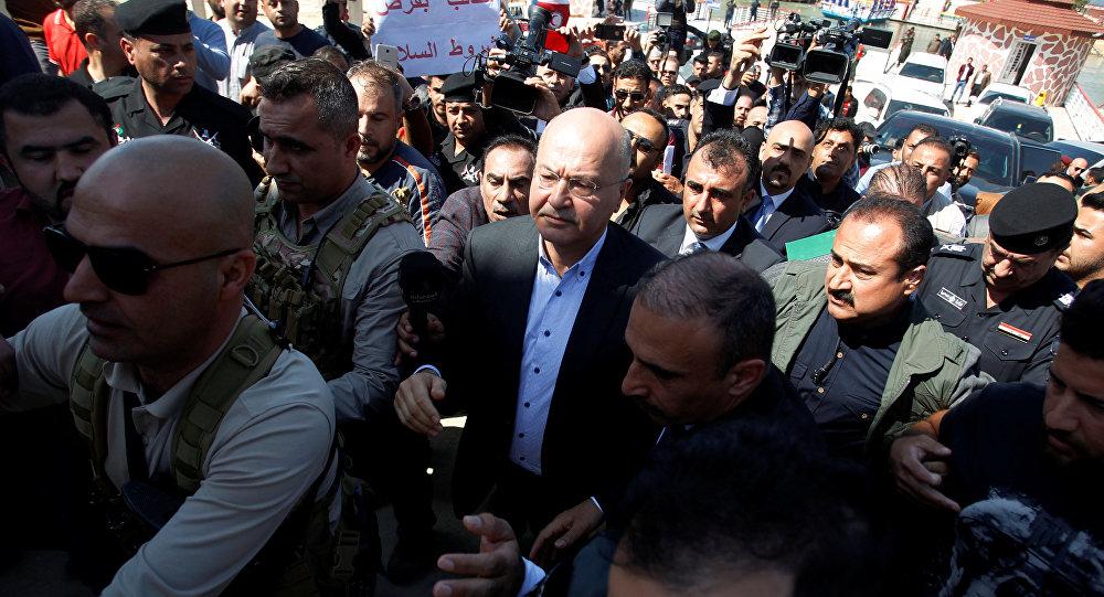 Barham Saleh, presidente de Irak arribó al lugar donde se hundió el ferry