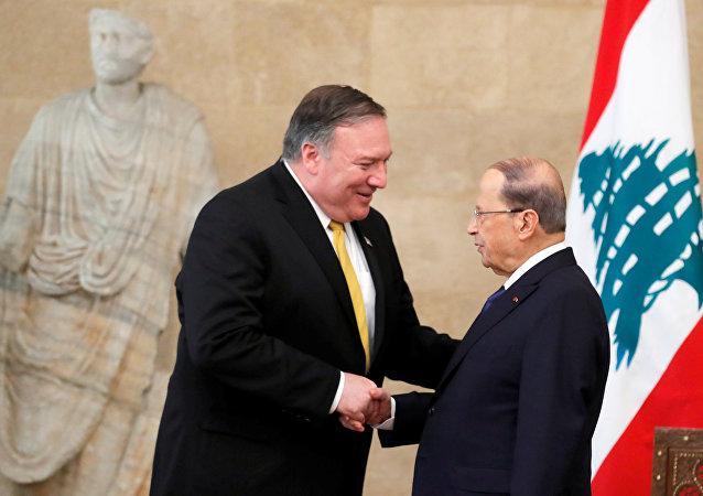 El secretario de Estado de EEUU, Mike Pompeo, y el presidente del Líbano, Michel Aoun
