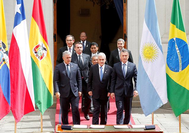 Sebastián Piñera, presidente de Chile junto a los mandatarios y representantes del bloque Prosur