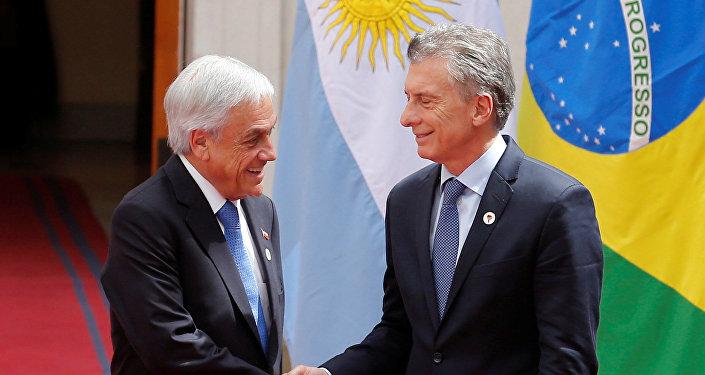 El presidente de Chile, Sebastián Piñera y su homólogo de Argentina, Mauricio Macri