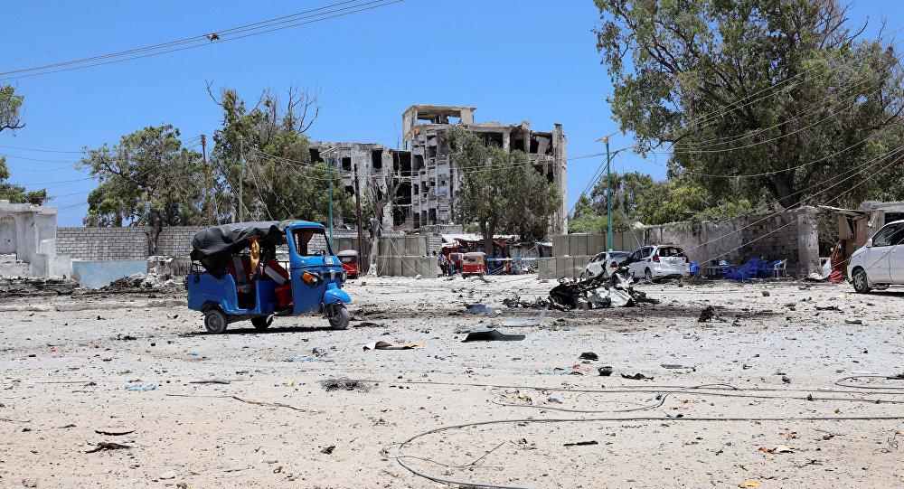 El lugar del atentado en Somalia
