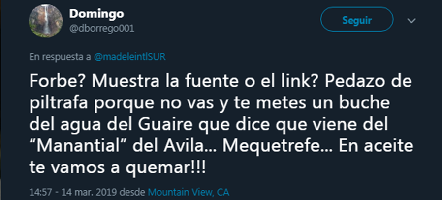 Promoción en Twitter del odio hacia el Gobierno venezolano