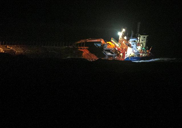 El carguero Hagland Captain, naufragado en las costas de Noruega el 23 de marzo de 2019