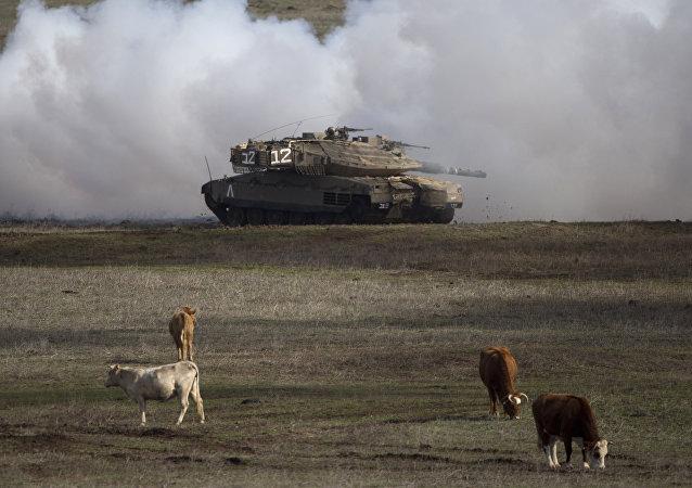 Un tanque israelí en los Altos del Golán (archivo)
