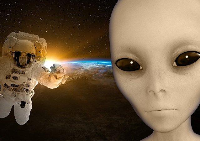 Un cosmonauta y un extraterrestre (ilustración artística)