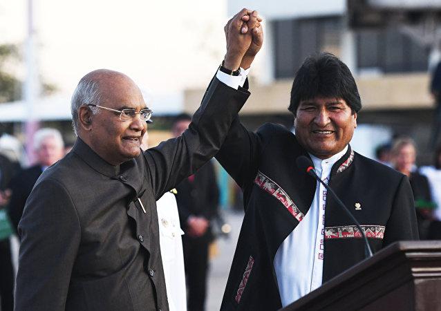 Ram Nath Kovind, presidente de la India, y Evo Morales, presidente de Bolivia