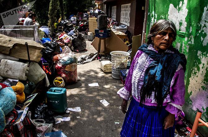 Mujer de la comunidad Otomí desalojada de la de antigua embajada de la República Española en Ciudad de México.