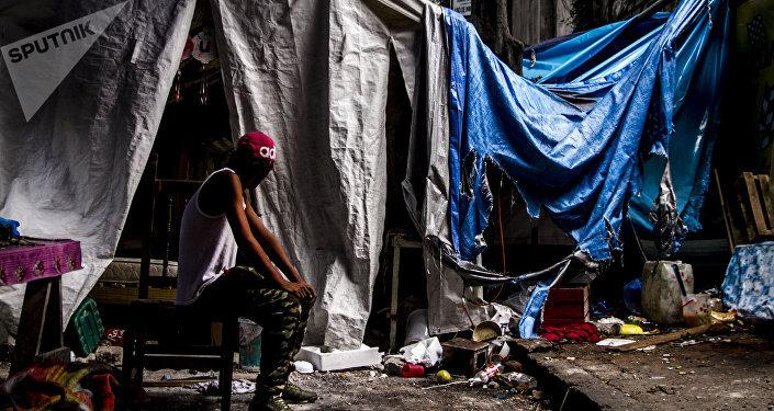 Campamento montado por la comunidad otomí tras su desalojo de la antigua embajada de la República Española en Ciudad de México.