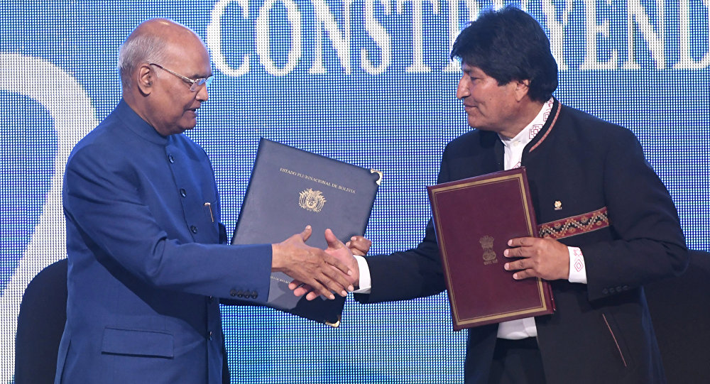 El presidente de la India Ram Nath Kovind y su homólogo boliviano Evo Morales