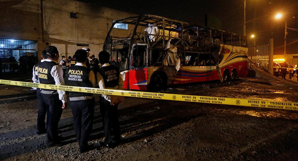 Lugar del incendio del autobús en Perú