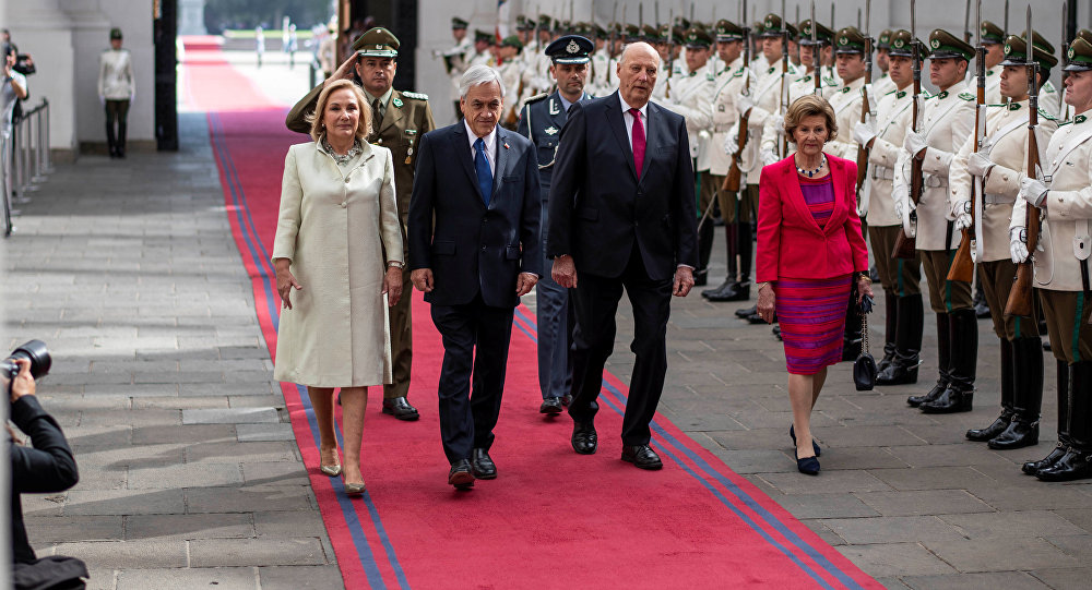 La visita de los reyes noruegos a Chile
