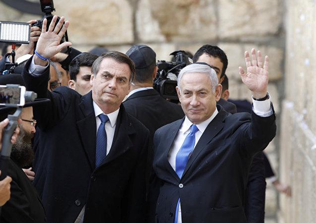 El presidente de Brasil, Jair Bolsonaro, y el primer ministro israelí, Benjamín Netanyahu