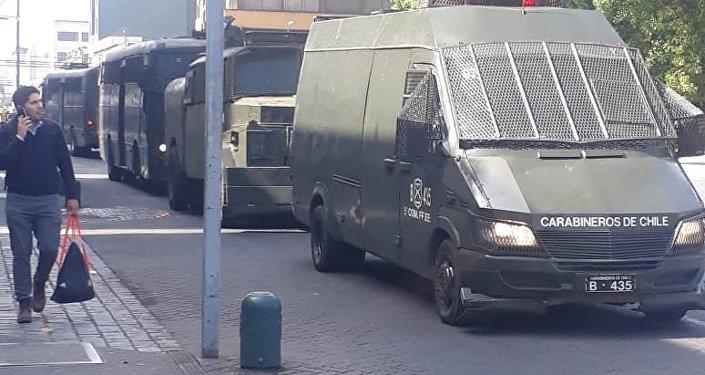 Carabineros de Chile durante la manifestación mapuche en Temuco