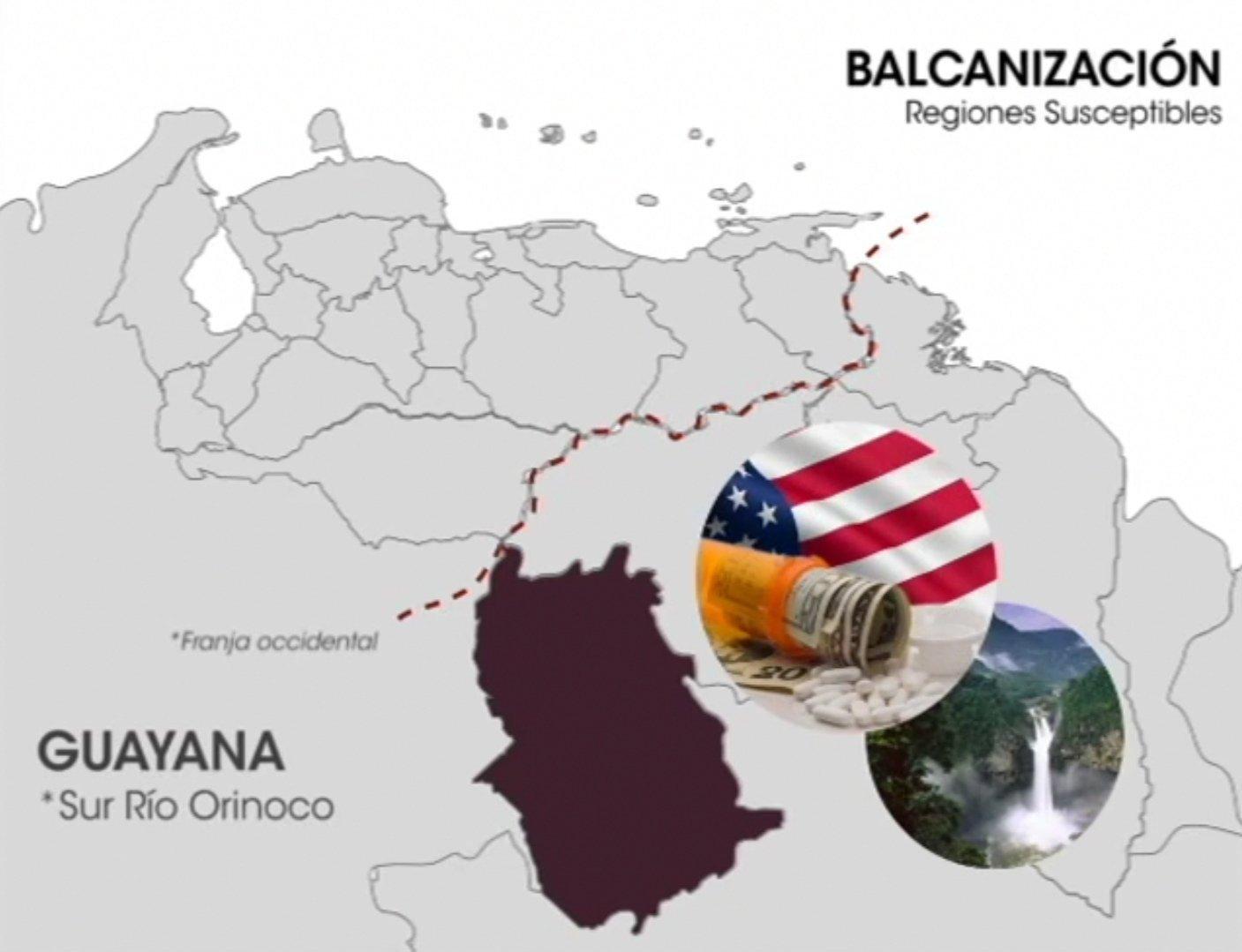 Guayana, regiones suceptibles de la balcanización en el mapa