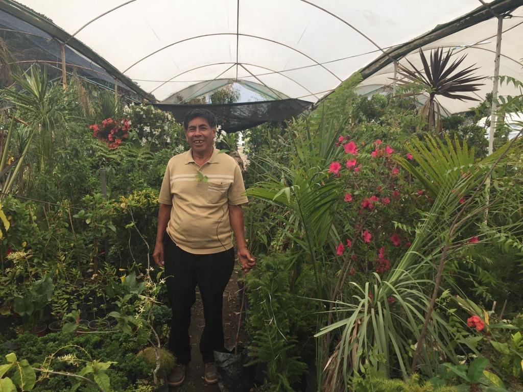 Moisés Mendez Salazar, agricultor de un pequeño vivero artesanal de media hectárea, en los viveros de Atlixco, faldas del volcán Popocatépetl