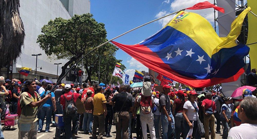 La movilización de los seguidores del Gobierno en Caracas